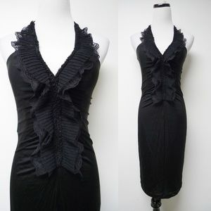 BCBGMaxAzria black ruffled front haltered dress